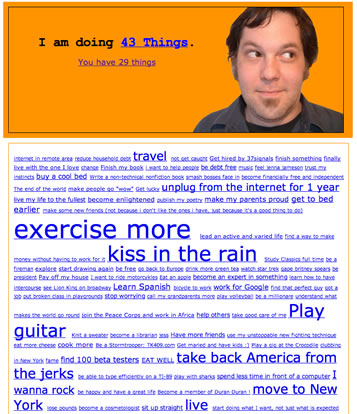Screenshot of 43 Things Preview Site