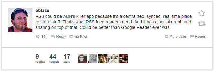 Insightful comment by @ablaze on App.net and feeds.