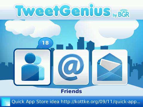 TweetGenius Home Screen