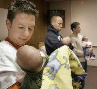 Jason and Kael Berberich at Bootcamp for New Dads
