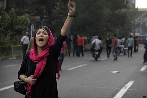 Iranian woman protesting the June 12 election