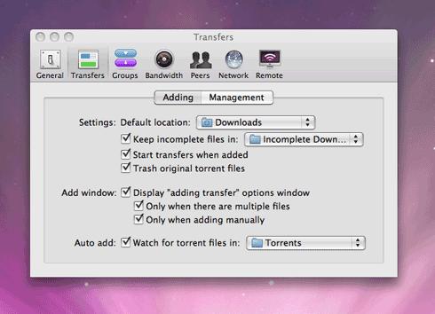 Transmission watch folder option