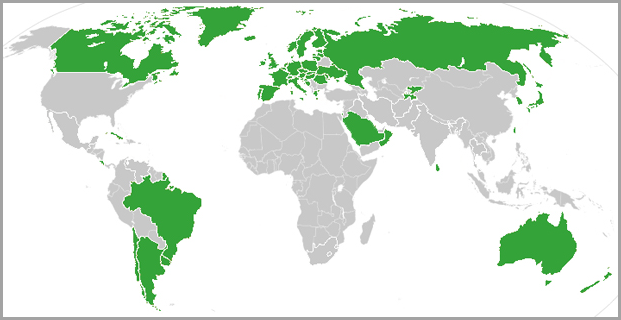 Map of countries that provide universal healthcare
