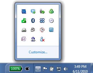 Windows 7 Taskbar Notification Area