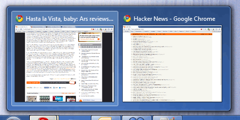 Windows 7 Taskbar Window Preview